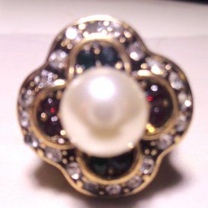 PEARL HAND CRAFTED MULTI GEM STONE GOLD RING SIZE8